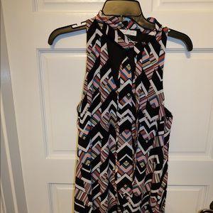 Geometric shift dress with tie neck